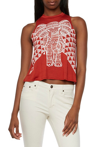 Swing Tank Top with Elephant Tank Top,RUST,large