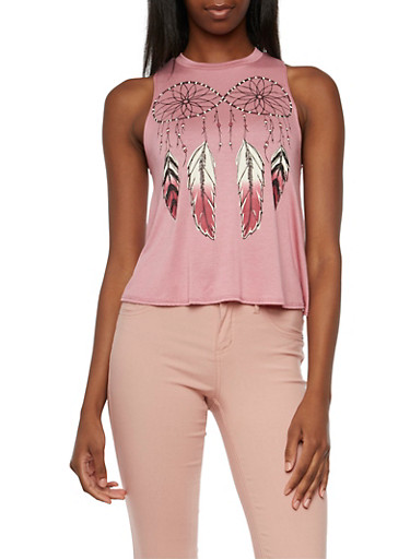 Graphic Swing Tank with Dream Catcher Feather Print,MAUVE,large