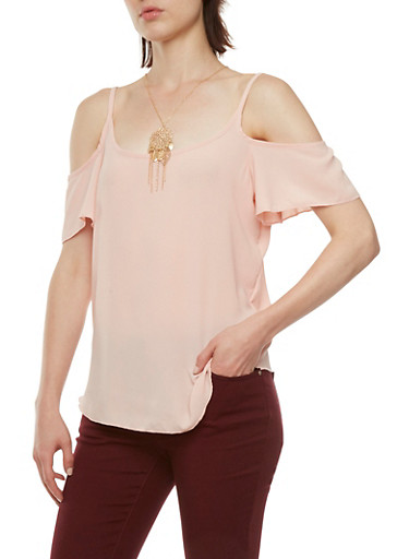 Cold-Shoulder Top with Flutter Sleeves and Necklace,ROSE,large