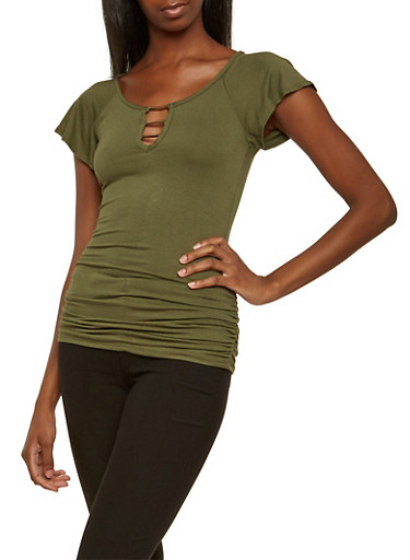 Top with Metallic Accents at the Keyhole Cutout,OLIVE,large