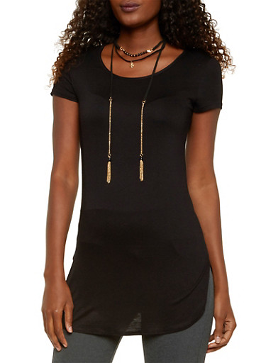 Tunic Top with Choker Necklace,BLACK,large