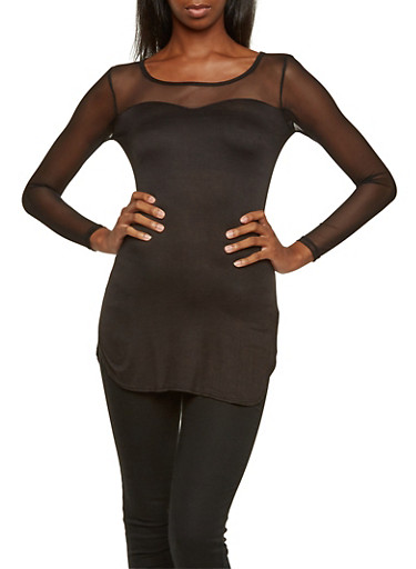 Top with Mesh Trim,BLACK,large