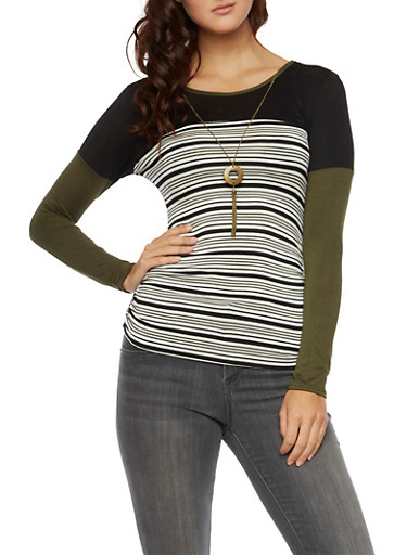 Striped Long Sleeve Top with Removable Necklace,OLIVE,large
