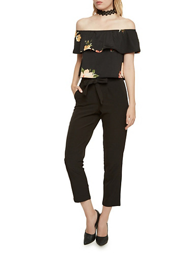 Off the Shoulder Ruffle Crop Top,BLACK TAUPE,large