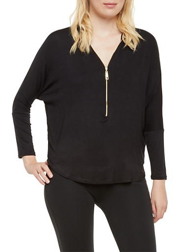 Long Sleeve Top with Zippered V Neck,BLACK,large