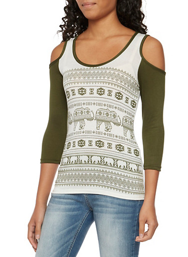 Cold Shoulder Top with Mixed Elephant Print,OLIVE IVORY,large