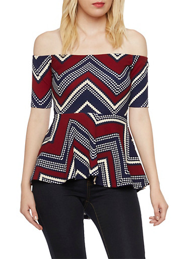 Off the Shoulder Peplum Top in Chevron Print,NAVY NVY,large