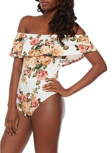 Floral Off the Shoulder Overlay Bodysuit,DUSTY ROSE,large