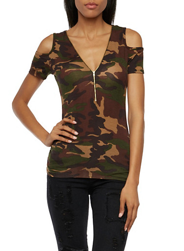 Could Shoulder Top with Zipper Neck and Camouflage Print,CAMOUFLAGE,large