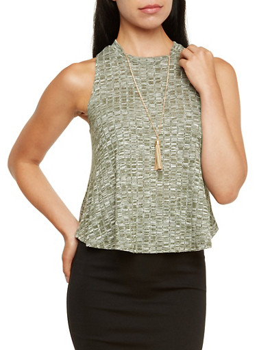 Knit Trapeze Top with Removable Necklace,OLIVE,large