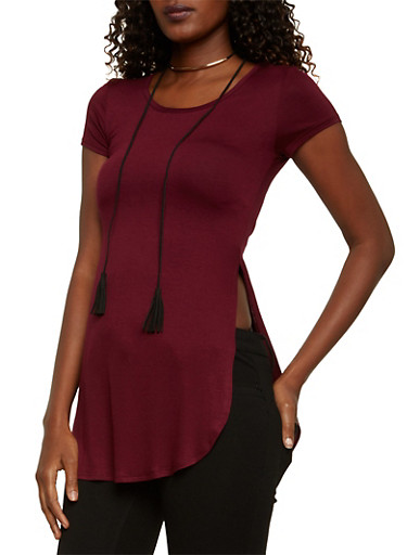 Solid Short Sleeve Tunic Top with Removable Choker,BURGUNDY,large
