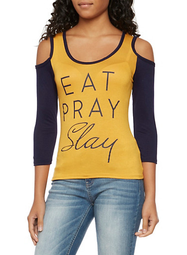 Cold Shoulder Color Block Top with Eat Pray Slay Graphic,MUSTARD NVY,large