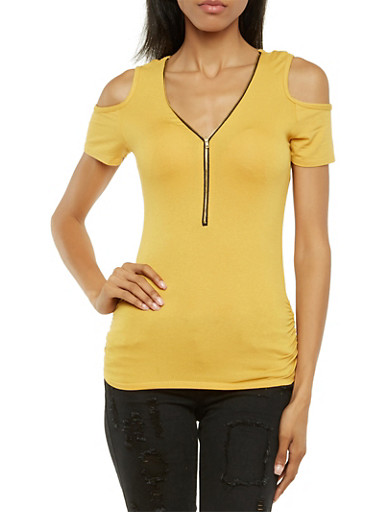 Cold Shoulder Top with Zip V-Neck,MUSTARD,large