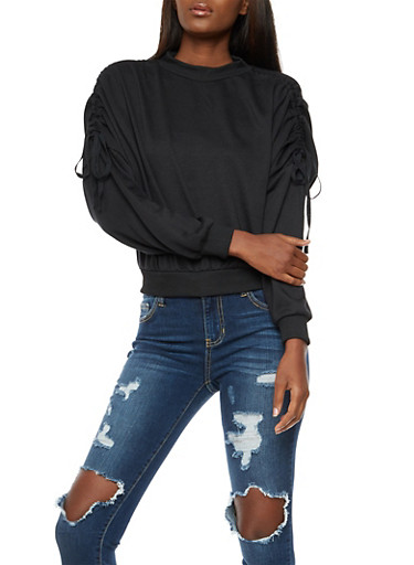 Ruched Long Sleeve Top,BLACK,large
