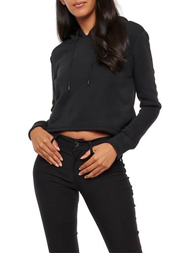 Cropped Hooded Sweatshirt,BLACK,large