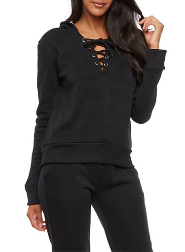 Lace Up Fleece Lined Hooded Sweatshirt,BLACK,large