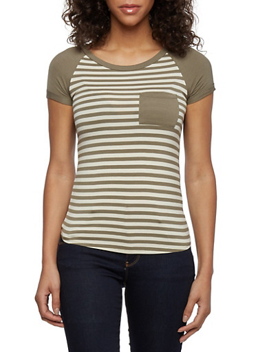 Striped Raglan Sleeve Tee with Solid Back,OLIVE/CREAM,large