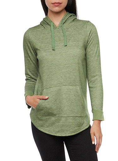 Pullover Hoodie with Rounded Hem,OLIVE,large