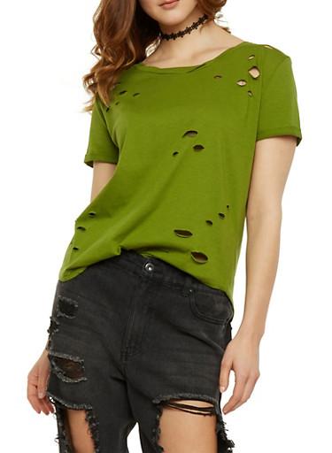 Solid Lasercut T Shirt,OLIVE,large
