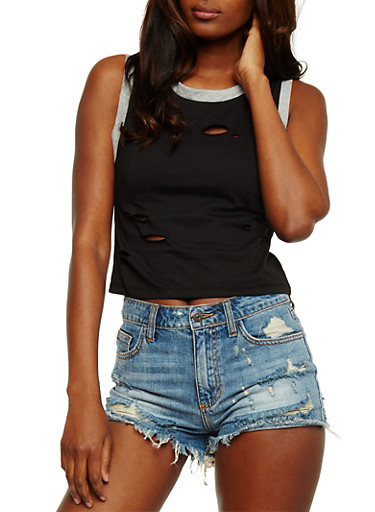 Ringer Lasercut Tank Top,BLACK HEATHER,large