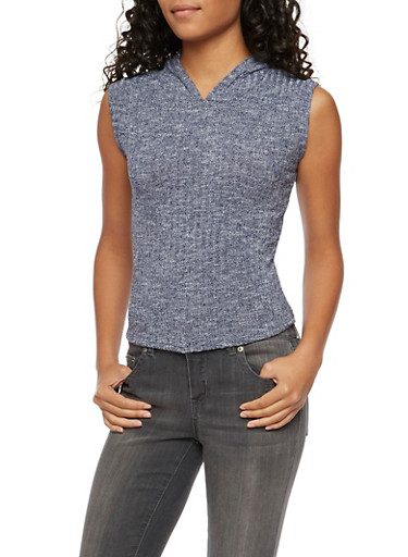 Sleeveless Ribbed Top with Attached Hood,NAVY,large