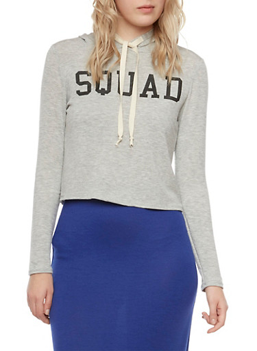 Cropped Graphic Hoodie with Squad Print,HEATHER BLK,large