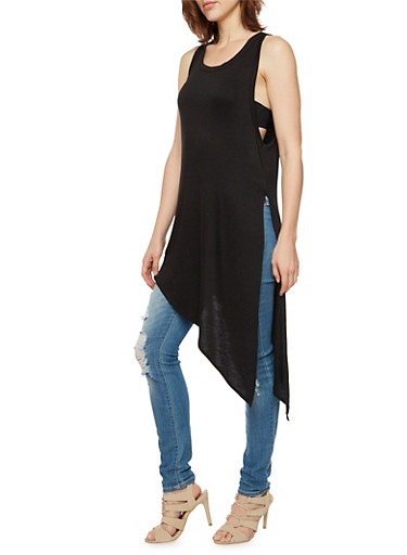 Sleeveless Tunic Top with Asymmetrical Hem and Slit,BLACK,large