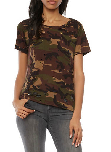 Distressed Camo Top with Cutout Back,OLIVE,large