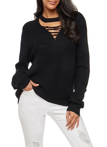 Lace Up Keyhole Knit Sweater,BLACK,large