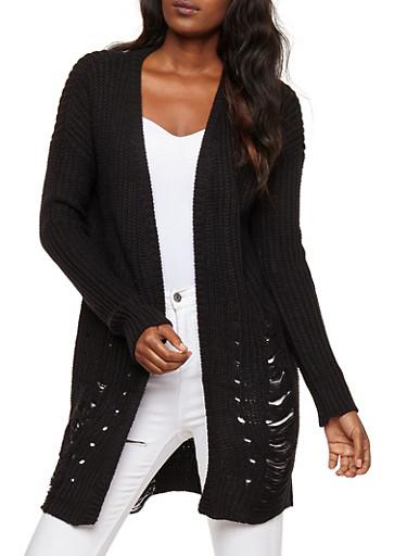 Slashed Long Sleeve Cardigan,BLACK,large