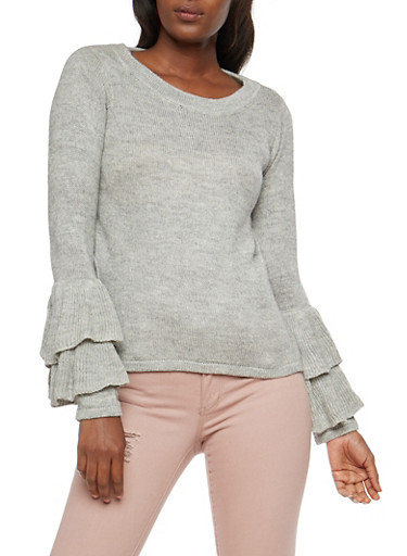 Tiered Bell Sleeve Sweater,HEATHER,large