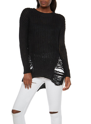 Shredded Knit Sweater,BLACK,large