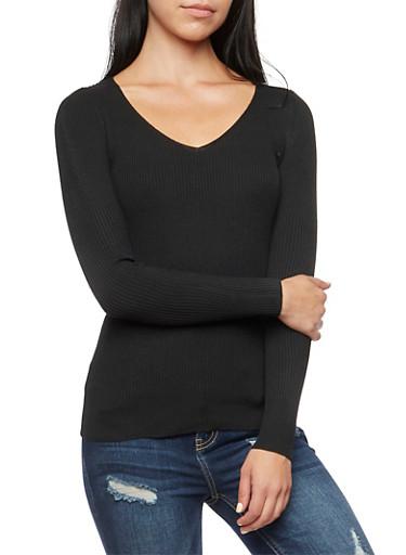 V-Neck Sweater,BLACK,large