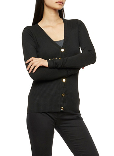 Long Sleeve Gold Button Cardigan,BLACK,large
