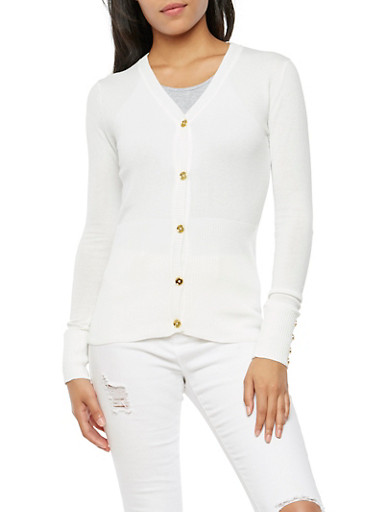 Long Sleeve Gold Button Cardigan,WHITE,large