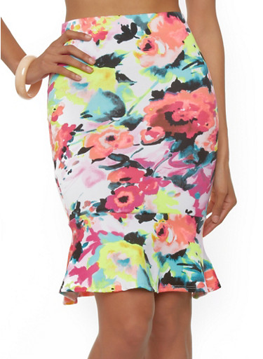 watercolor floral print pencil skirt with fishtail hem