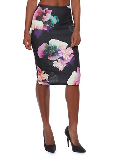 Stretch Knit Pencil Skirt in Floral Print,BLACK,large