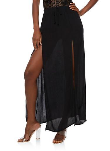 Gauze Knit Maxi Skirt,BLACK,large