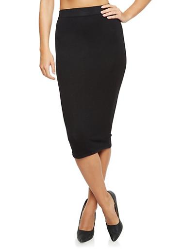 Solid Midi Pencil Skirt,BLACK,large