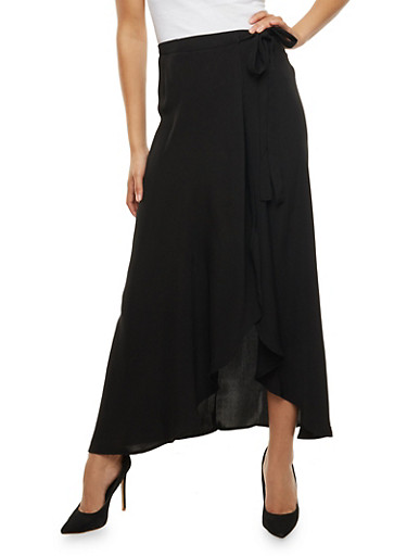 Wrap Front Maxi Skirt,BLACK,large