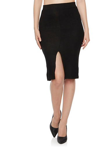 Knit Midi Skirt with Front Slit,BLACK,large