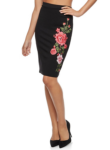 Pencil Skirt with Floral Embroidery,BLACK,large