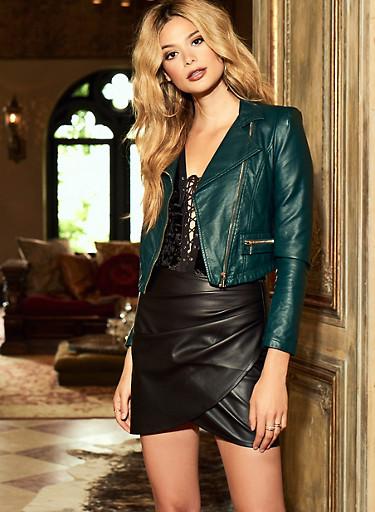Pleated Faux Leather Mini Skirt,BLACK,large