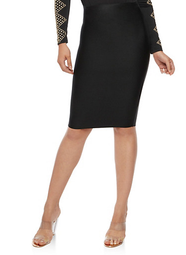 Solid Bandage Pencil Skirt,BLACK,large
