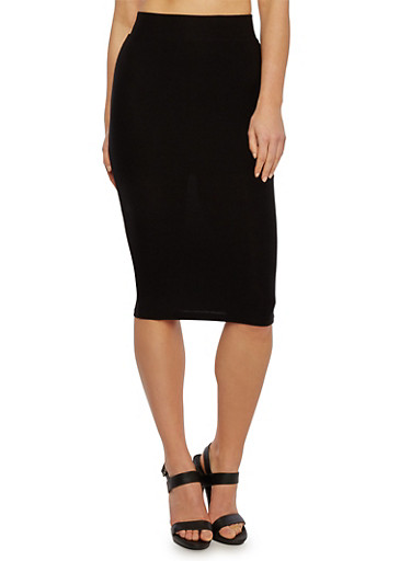 Solid Brushed Faux Suede Midi Skirt,BLACK,large