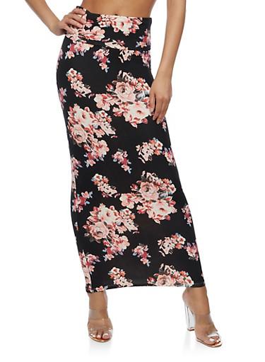 Floral Print Maxi Skirt,BLACK,large