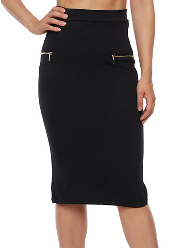 Solid Pencil Skirt with Zippers,BLACK,large