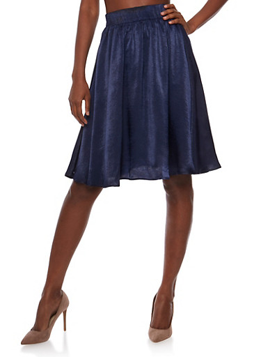 Satin Pleated A line Skirt,NAVY,large