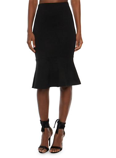 Solid Pencil Skirt with Flounce Hem,BLACK,large