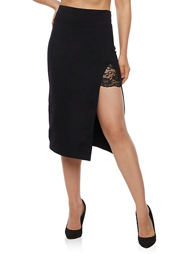Pencil Skirt with Slit and Lace Insert,BLACK,large